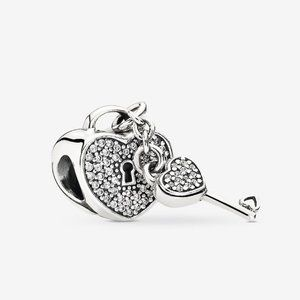 Pandora Pave Padlock Heart and Key Charm